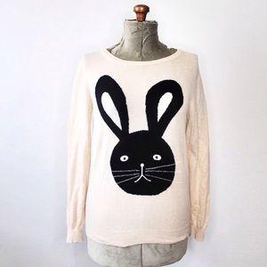 🎀3/$30 F21 Cream & Black Bunny Face Knit Sweater